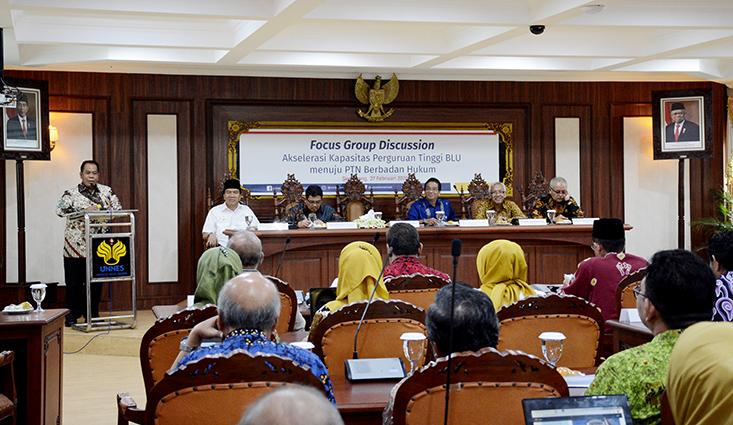 UNNES selenggarakan FGD Akselerasi Kapasitas Perguruan Tinggi BLU Menuju PTN Berbadan Hukum