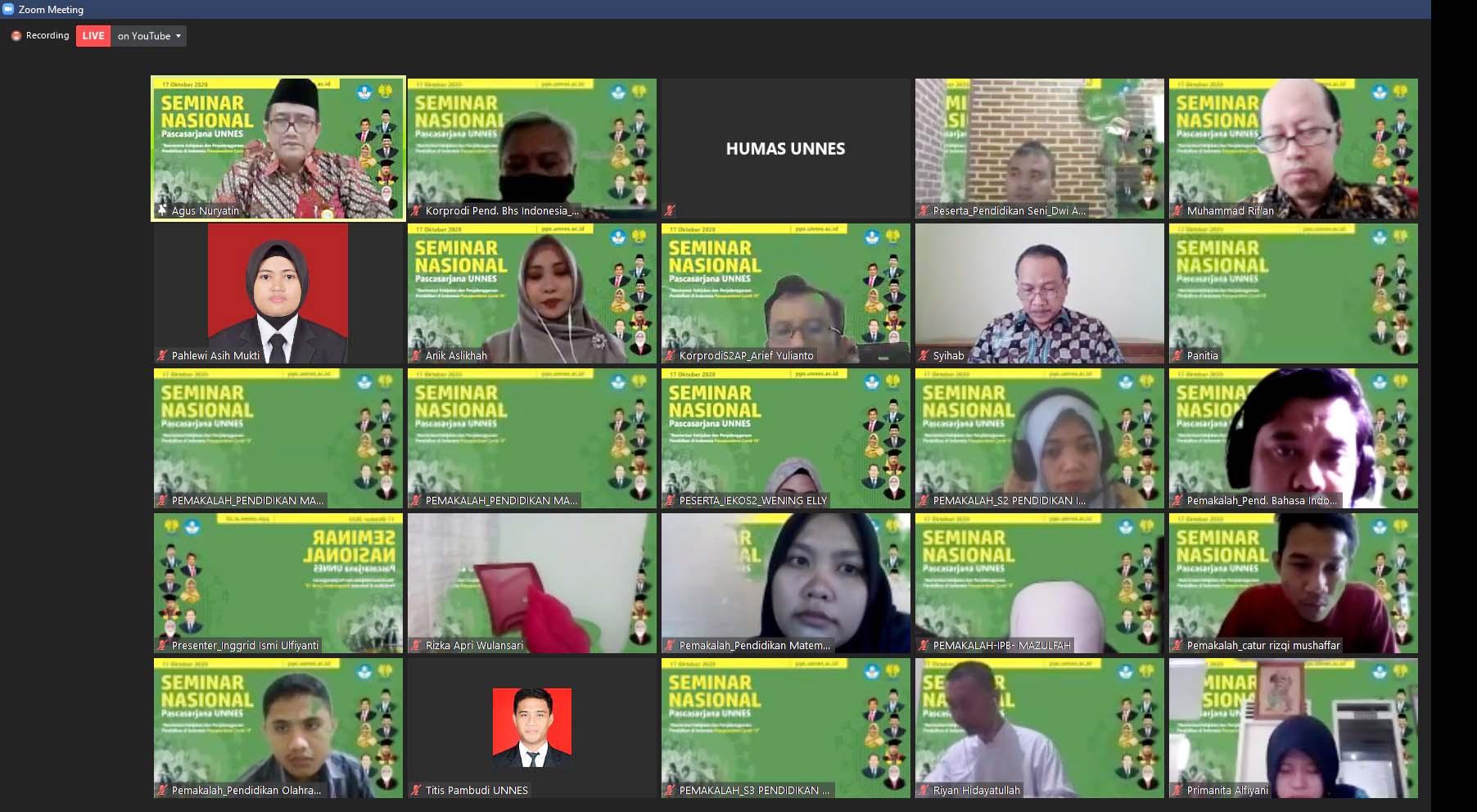 Webminar Pasca Sarjana : Reorientasi Kebijakan dan Penyelenggaraan Pendidikan di Indonesia Pasca Pandemi Covid 19