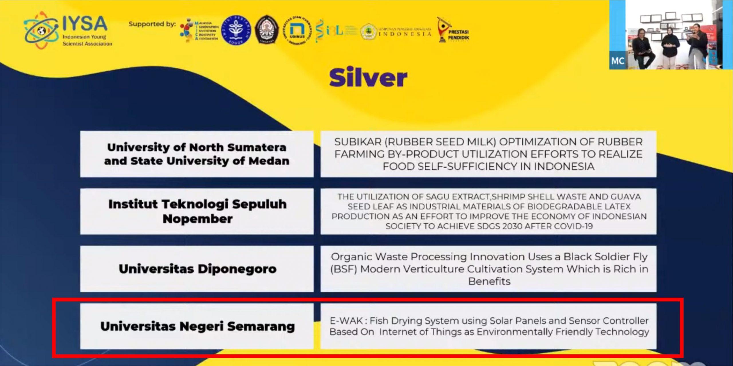 Tim Mahasiswa UNNES Rebut 3 Medali Ajang Internasional AISEEF 2021
