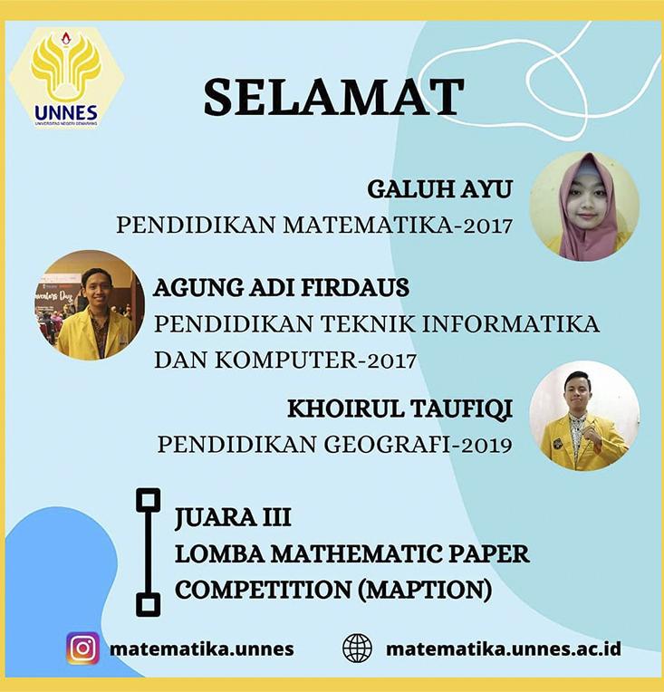 Kolaborasi Mahasiswa UNNES Meraih Juara 3 MAPTION