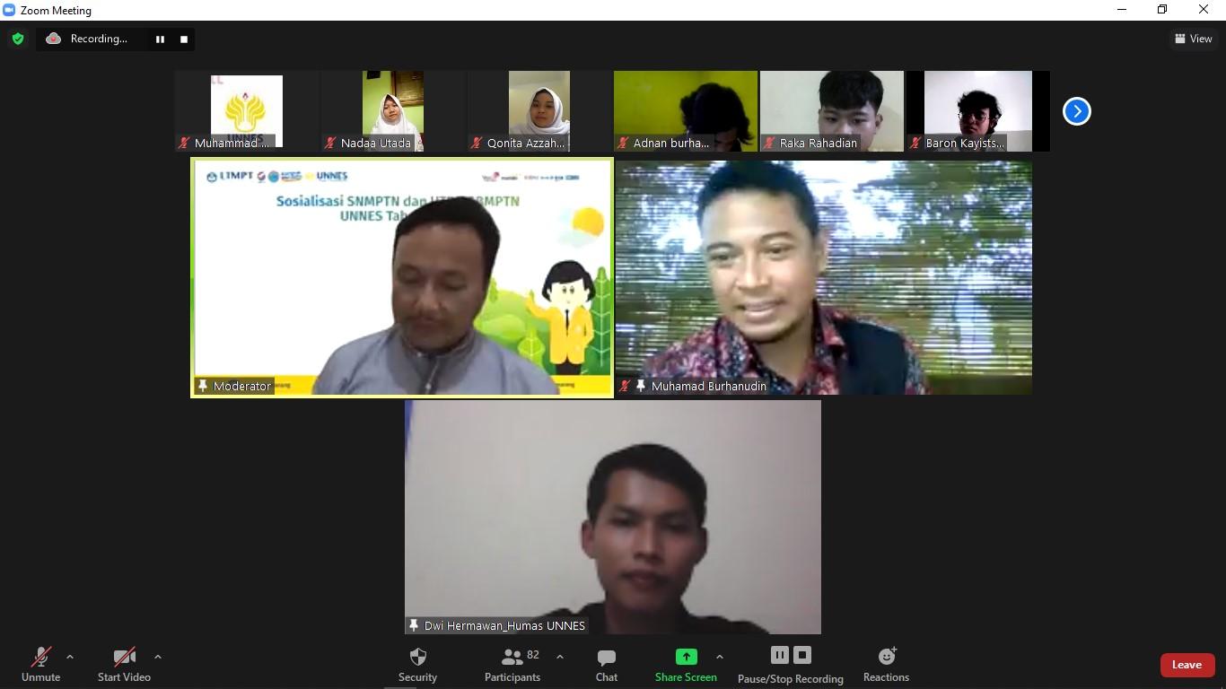 UNNES Sosialisasikan SNMPTN 2021 Secara Daring
