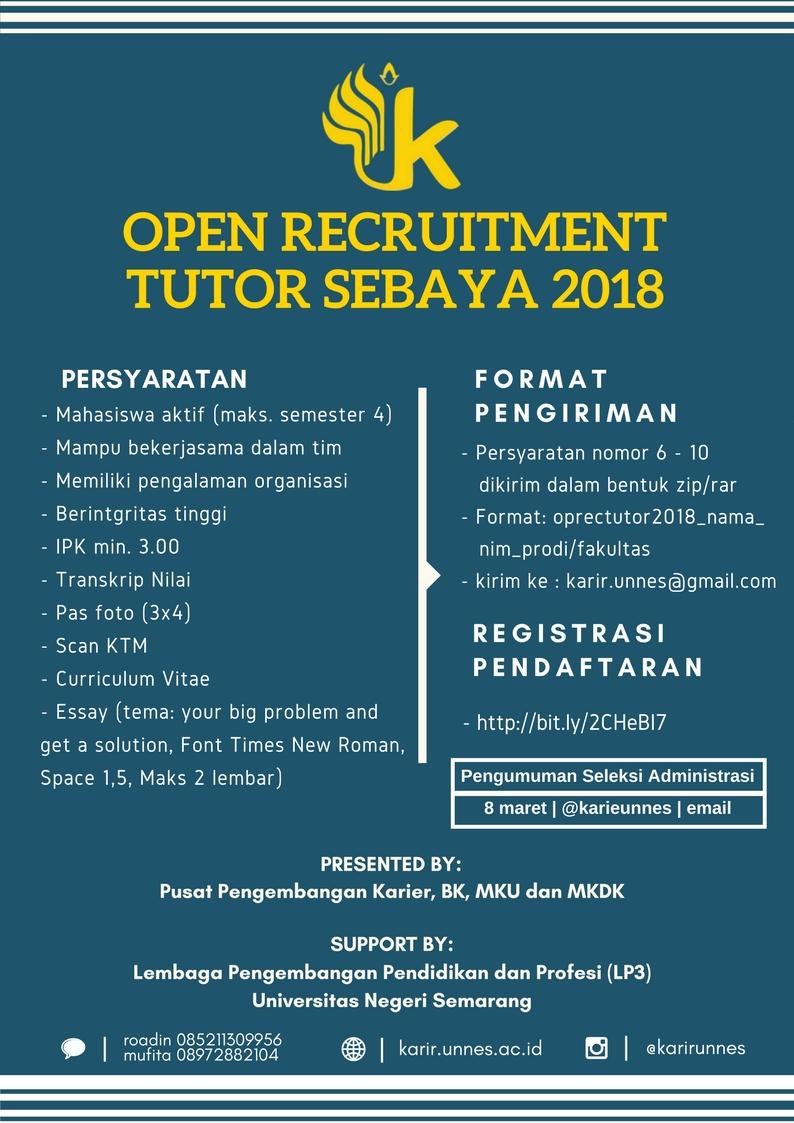 Open Recruitment Tutor Sebaya Pusat Karir, LP3 UNNES 2018