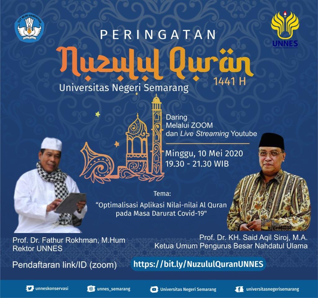 Peringatan Nuzulul Quran UNNES dengan Penceramah Ketua Umum PBNU Prof KH Said Aqil Siroj