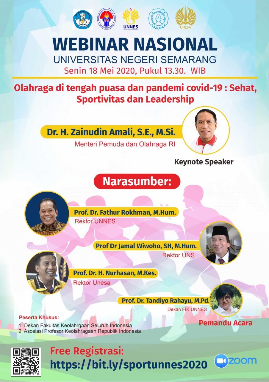 Menpora Akan Menjadi Keynote Speaker Webinar Nasional UNNES