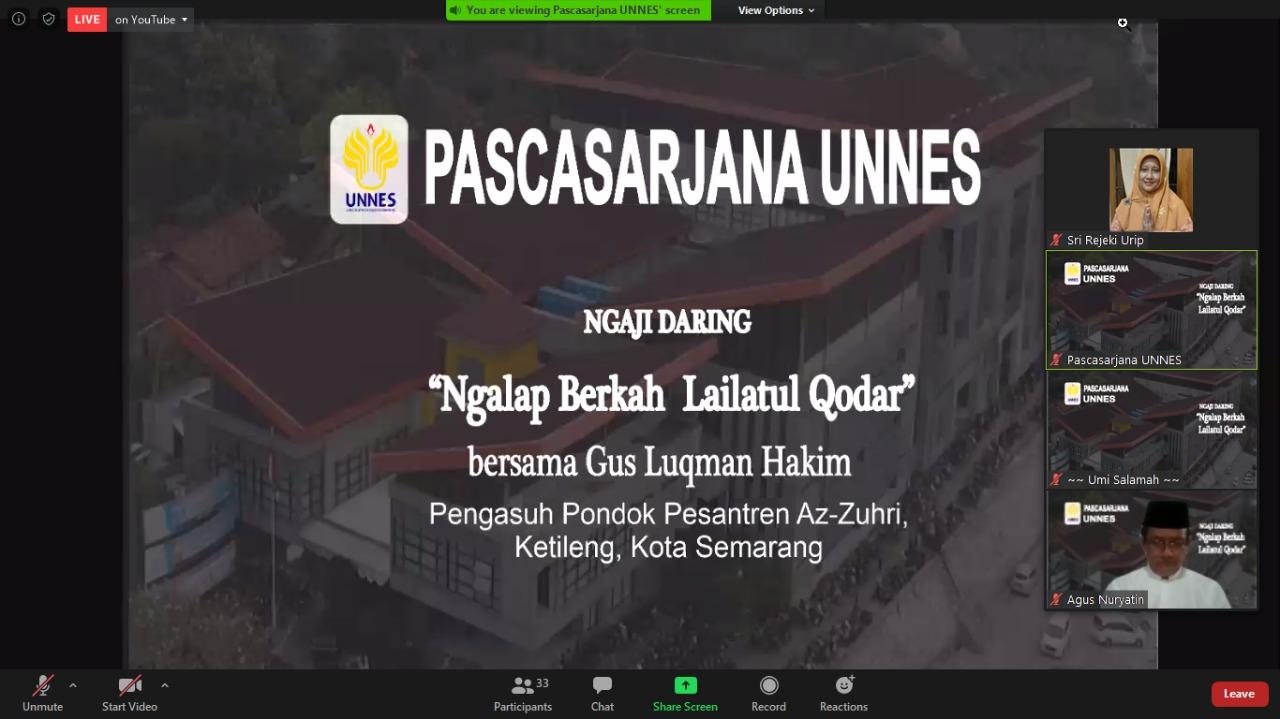 Ngaji Bareng Pascasarjana UNNES, Ngalap Berkah Lailatul Qodar