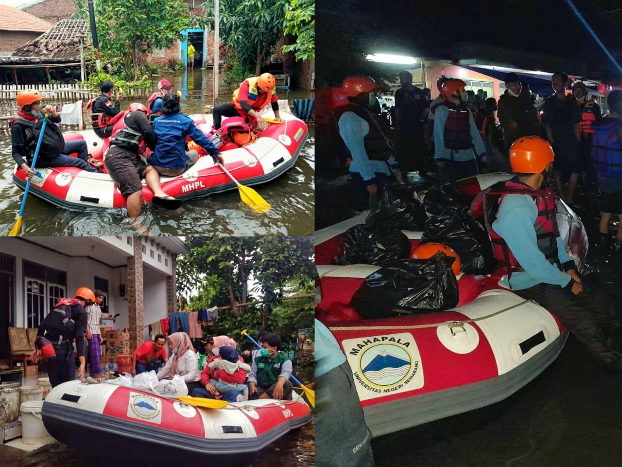 Banjir Tak Kunjung Surut, Tim MAHAPALA UNNES Terus Aktif Ikuti Operasi SAR