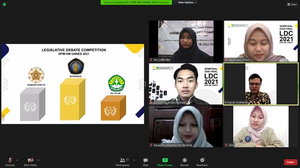 DPM KM UNNES Selenggarakan Legislative Debate Competition 2021