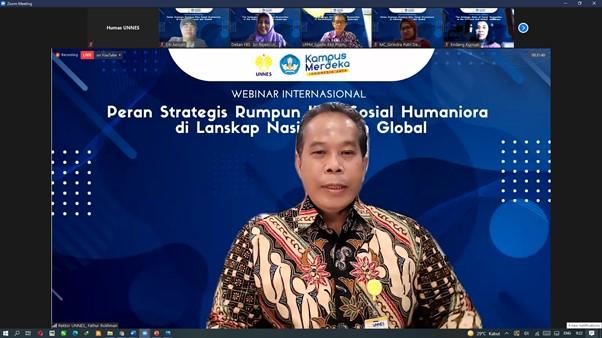 Webinar Internasional FBS UNNES, Rektor UNNES Tekankan Pentingnya Ilmu Seni Sosial Humaniora Untuk Membangun Peradaban
