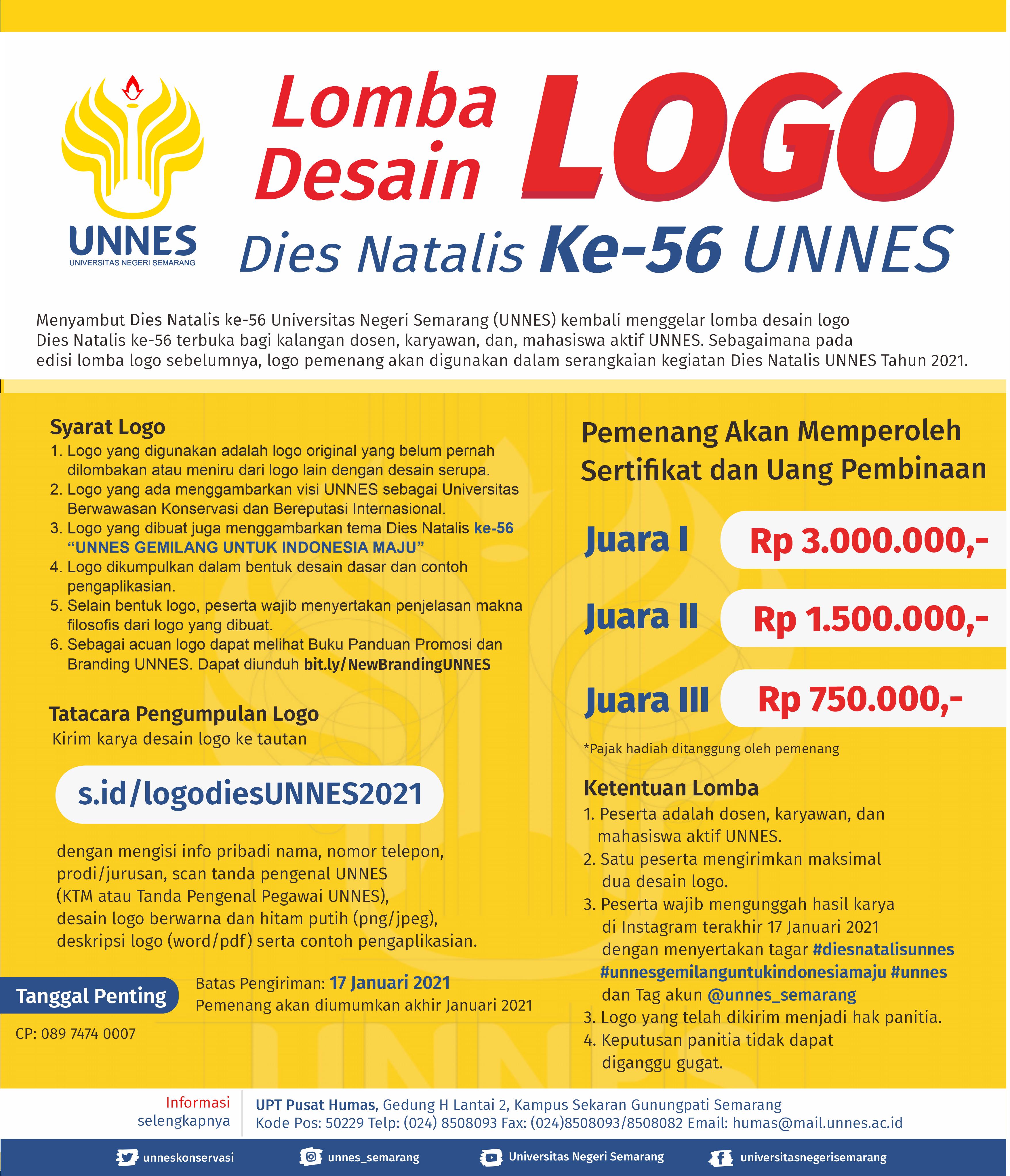 Iukuti Lomba Desain Logo Dies Natalis ke-56 UNNES Berhadiah Jutaan Rupiah