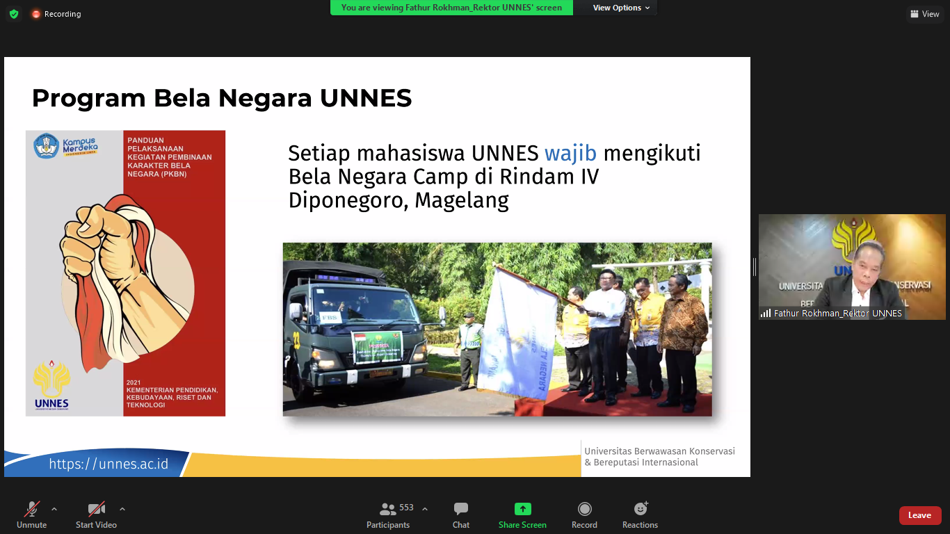 Buka Webinar Penguatan Karakter, Rektor UNNES Tekankan Pentingnya Bela Negara