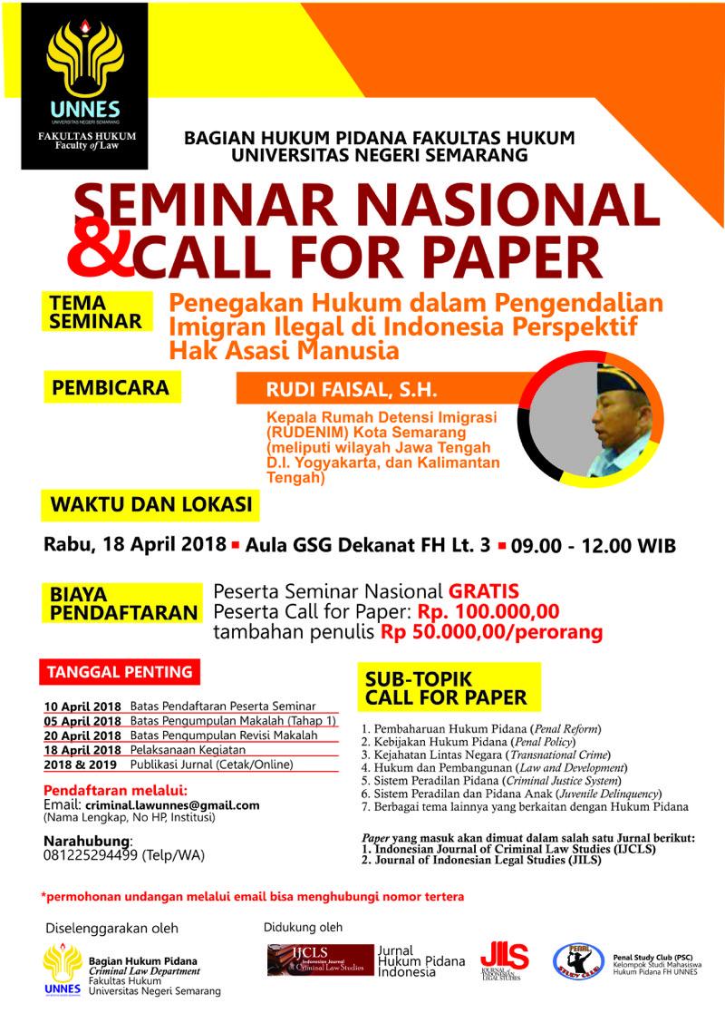 Seminar Nasional dan Call for Paper Hukum Pidana FH UNNES