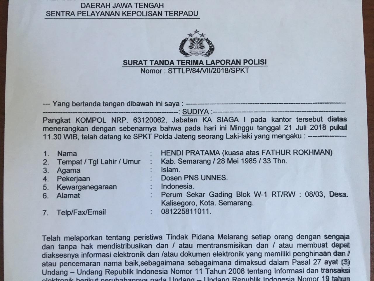 Terduga Pencemaran Nama Baik Dilaporkan ke Kepolisian