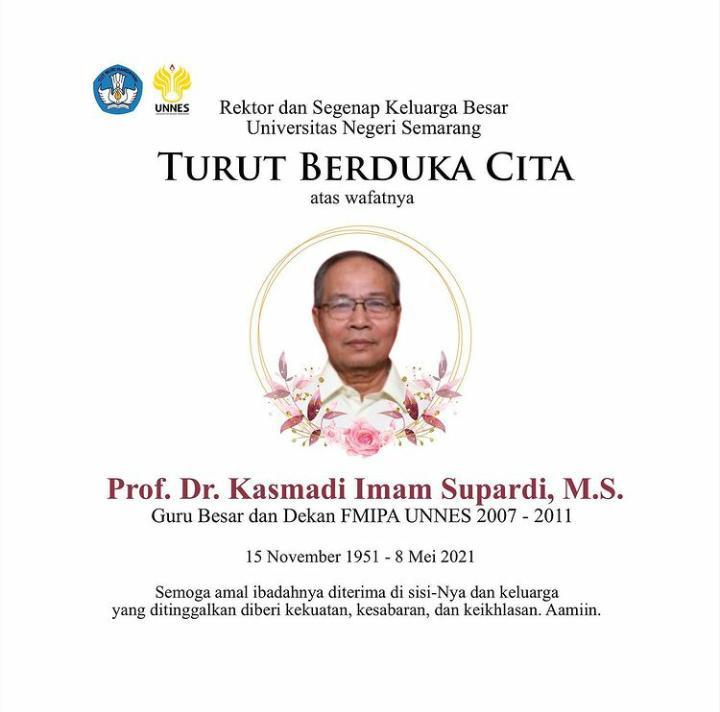Prof Dr  Kasmadi Imam Supardi MS Guru Besar FMIPA UNNES Meninggal Dunia
