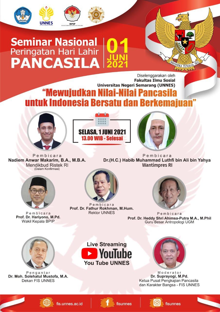 Besok, UNNES Selenggarakan Seminar Nasional Peringatan Hari Lahir Pancasila