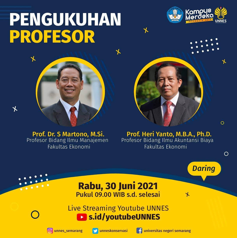 Besok, Prof Martono dan Prof Heri Yanto Dikukuhkan Sebagai Guru Besar