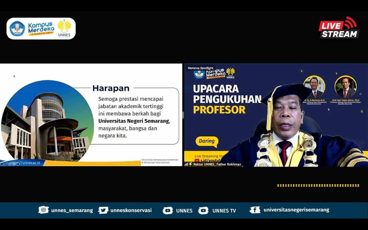 Perkuat Iklim Akademik, Rektor UNNES Kukuhkan Dua Gubes Fakultas Ekonomi