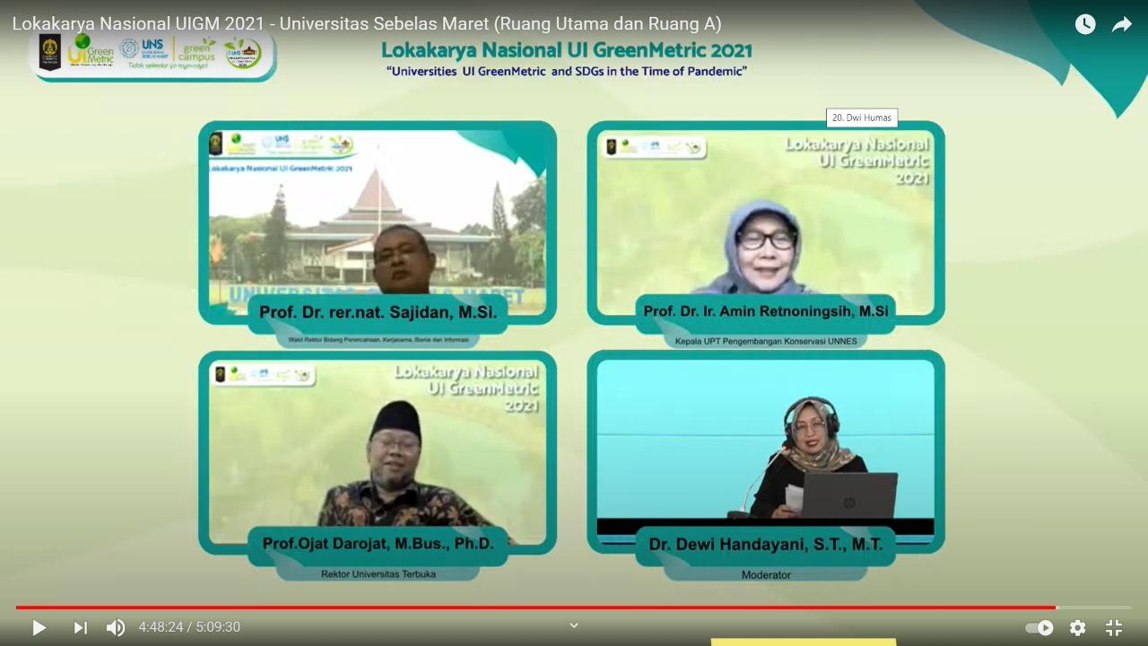 Ketua UPT Pengembangan Konservasi UNNES Jadi Pembicara dalam Lokakarya NasionalUI GreenMetric2021