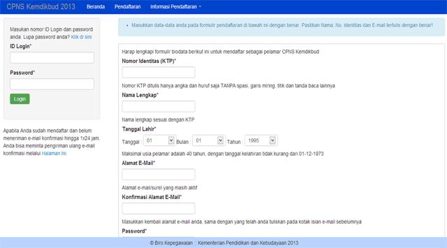 Inilah Laman Baru Registrasi CPNS Kemdikbud 2013