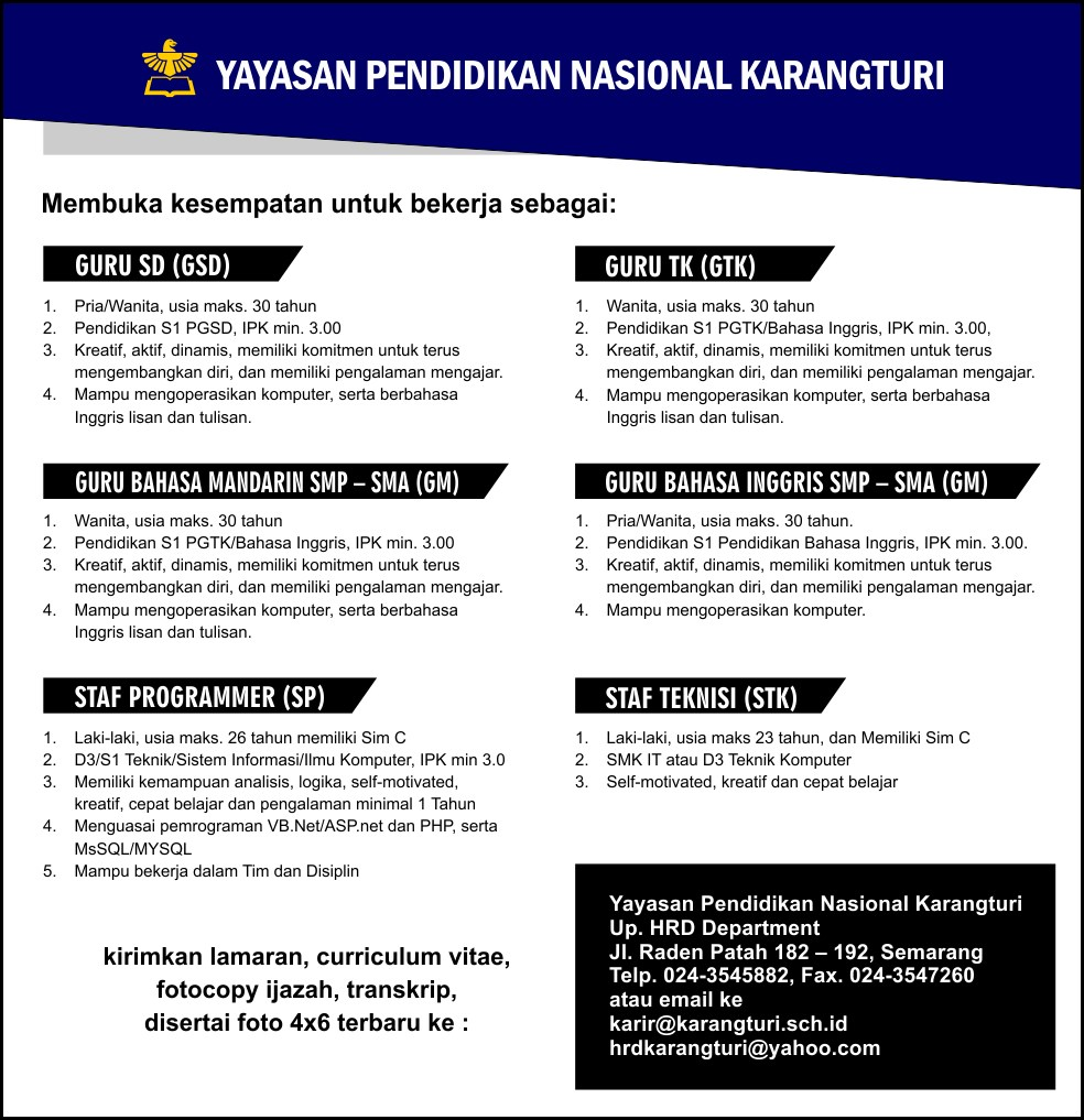 Yayasan Pendidikan Karangturi Semarang Membutuhkan Tenaga Pendidik