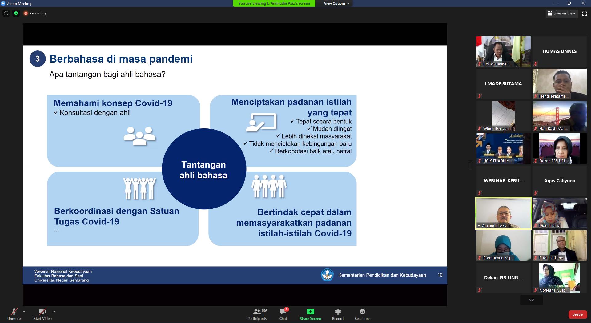 FBS UNNES Selenggarakan Webinar Fenomena dan Tantangan Bahasa dan Seni Pasca Pandemi